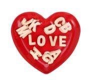 与木字母表块的爱咒语 免版税库存图片