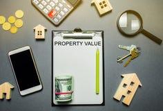 与木房子的表,计算器,硬币,有词财产价值的放大镜 不动产评估的合同 免版税库存图片