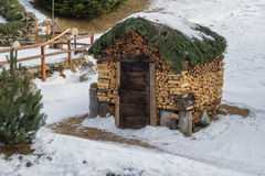 与木日志的堆木材的棚小屋 库存图片