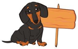 与木板材的达克斯猎犬 图库摄影