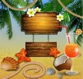 与木板的美好的海滩视图 库存例证