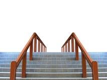 与木栏杆的楼梯 图库摄影