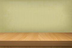 与木桌和老墙纸条纹的背景 图库摄影