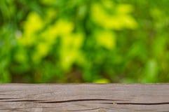 与木桌面的自然背景 免版税库存照片