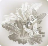 与木槿和蝴蝶,手图画的花卉背景 v 向量例证