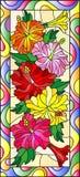 与木槿,垂直的取向花和叶子的彩色玻璃例证在一个明亮的框架的 向量例证