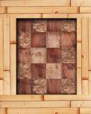 与木正方形的竹框架在棋盘样式 免版税库存图片