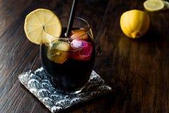 与木炭、柠檬和五颜六色的泡影冰块的黑柠檬水 图库摄影