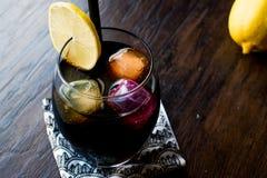 与木炭、柠檬和五颜六色的泡影冰块的黑柠檬水 免版税库存图片
