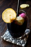 与木炭、柠檬和五颜六色的泡影冰块的黑柠檬水 免版税库存照片