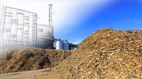 与木燃料存贮的生物能源厂图画反对蓝色的 免版税库存图片