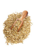 与木瓢的茴香籽堆 免版税库存图片