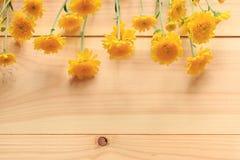 与木的黄色花和复制空间 免版税库存照片