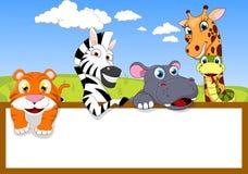 与木符号的动物园动物 库存图片
