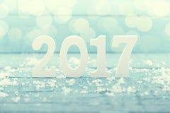 与木第2017的构成作为来临的标志 免版税图库摄影