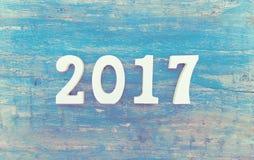 与木第2017的构成作为来临的标志 免版税库存照片