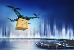与木箱飞行的寄生虫在直升机场 免版税库存照片