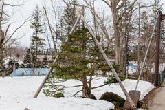 与木结构的生长杉木在用雪包括在Fukidashi公园在北海道,日本的基础上 免版税图库摄影