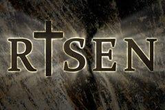 与木耶稣基督十字架和上升的文本的复活节背景 宗教的卡片,基督徒复活节 免版税图库摄影