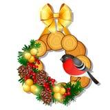 与木花圈的圣诞节剪影与用金黄丝带弓装饰的冷杉枝杈,霍莉红色莓果,杉木锥体 向量例证