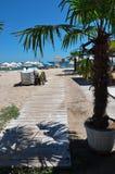 与木道路的海滩酒吧 免版税库存照片
