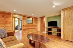 与木铣板的家庭娱乐室内部 免版税库存照片