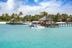 与木水平房,马尔代夫的热带风景 库存图片
