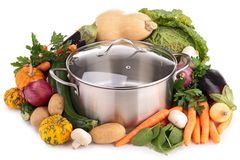 与未加工的蔬菜的砂锅 库存照片