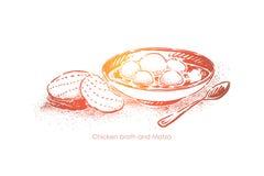 与未发酵的面包,传统犹太烹调,自创食物,洁净午餐,与面包球的汤的鸡汤 向量例证