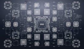 与未来派用户界面的现代背景 电子计算机硬件技术 主板数字式芯片 皇族释放例证
