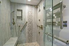 与未经预约而来的阵雨的当代卫生间设计 免版税库存图片