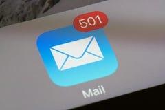 与未经阅读的电子邮件计数的邮件象 库存照片