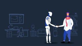 与机器人协议概念友谊的偶然人握手在人工智能机器人机器之间和人 库存例证