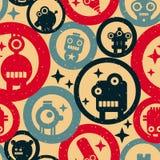 与机器人和圈子的无缝的样式在葡萄酒颜色 免版税库存图片