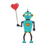 与机器人的五颜六色的剪影有在心脏形状的气球的  免版税库存照片