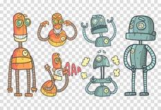 与机器人的传染媒介集合在与五颜六色的积土的概述样式 用不同的情感的灰色和橙色机械机器人 皇族释放例证