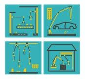 与机器人胳膊的传动机制造业 包装机器人的手和电子汇编 向量例证