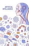 与机器人,机器人胳膊,自动操作器,创新技术设备的飞行物或海报模板 ?? 库存例证