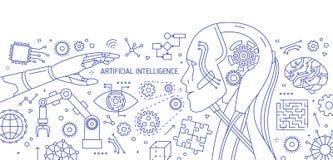 与机器人,机器人胳膊,集成电路,高科技装置的水平的单色横幅画与等高线  皇族释放例证