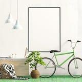 与机架、植物和自行车的现代内部 海报嘲笑 3d 向量例证