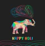 与杂色多角形大象的愉快的holi传染媒介卡片 印度象树干放掉油漆 Holi大象 库存图片