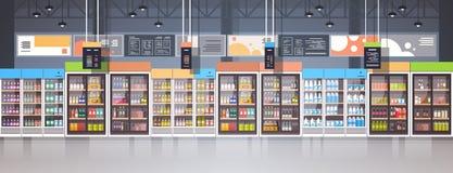 与杂货食物的分类的超级市场内部零售店在架子水平的横幅的 库存例证