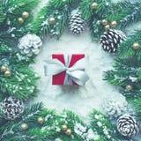 与杉木分支的圣诞节装饰品在雪背景 图库摄影