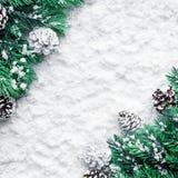 与杉木分支的圣诞节装饰品在雪背景 免版税库存照片