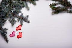 与杉木和三心脏分支的木白色背景  免版税库存照片