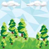 与杉木的传染媒介低多风景 免版税库存照片