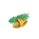 与杉木的圣诞节铃声 llustration 图库摄影