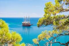 与杉木的沿海在凯梅尔,土耳其附近 免版税库存图片