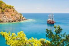 与杉木的沿海在凯梅尔,土耳其附近 库存图片