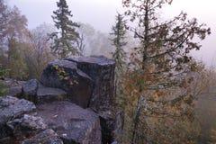 与杉木的花岗岩露出在北Minn的有雾的早晨 库存图片